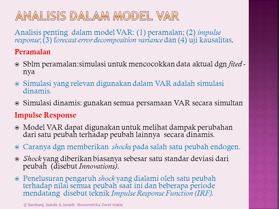 Analisis dalam Model VAR