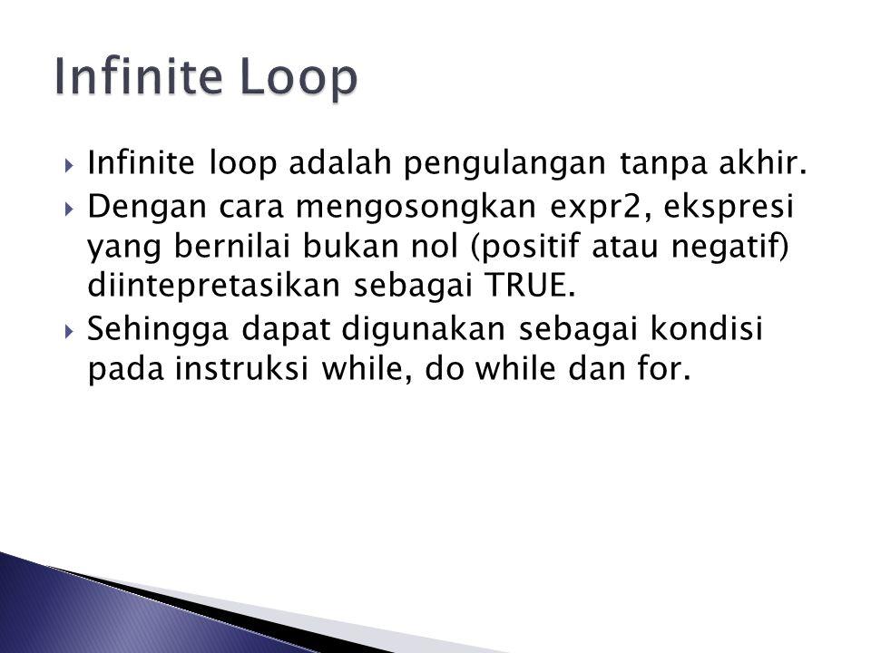 Infinite Loop Infinite loop adalah pengulangan tanpa akhir.