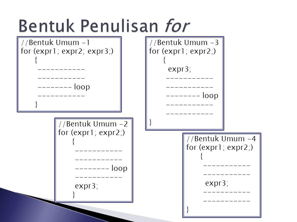 Bentuk Penulisan for //Bentuk Umum -1 for (expr1; expr2; expr3;) {