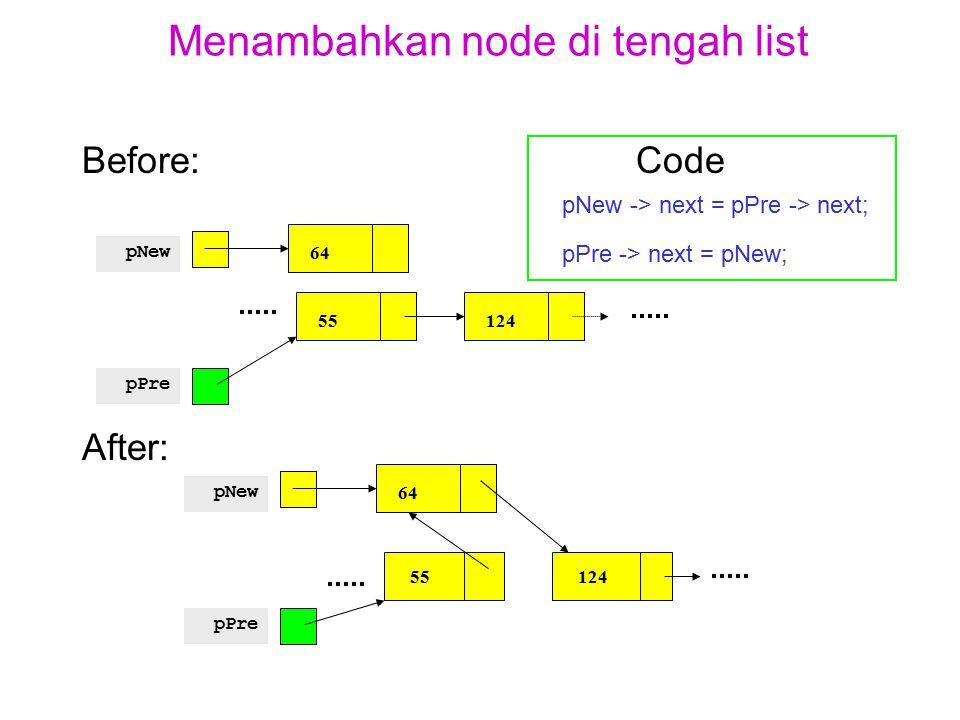Menambahkan node di tengah list