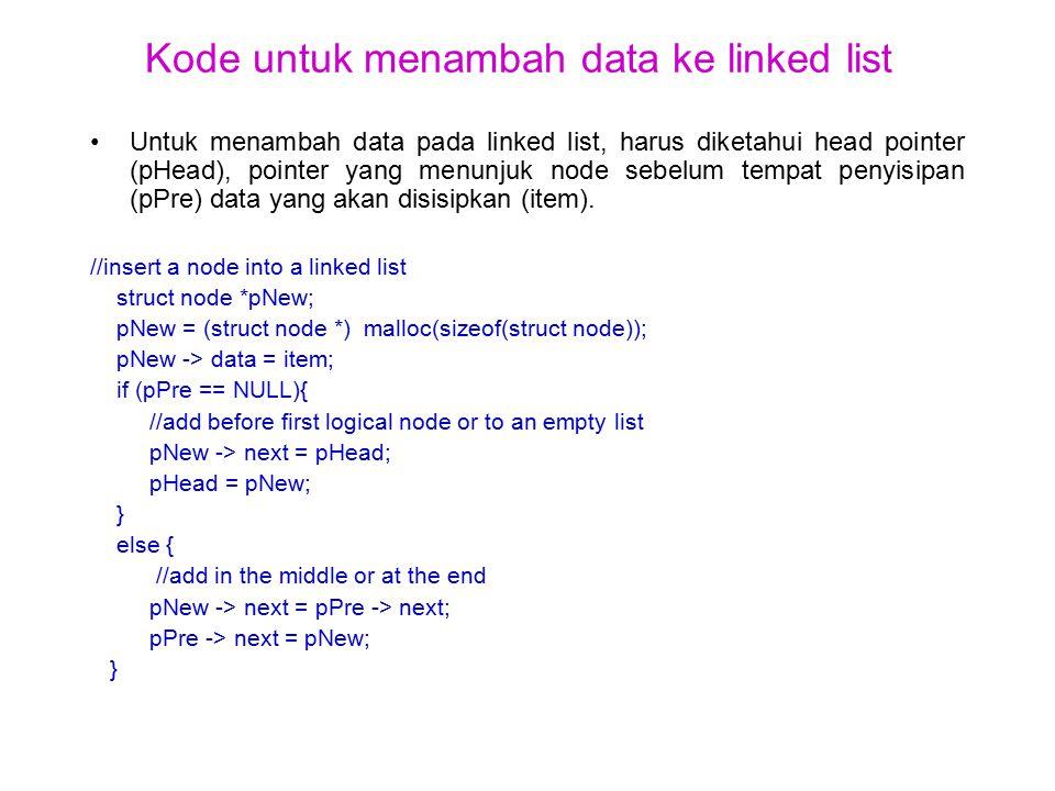 Kode untuk menambah data ke linked list