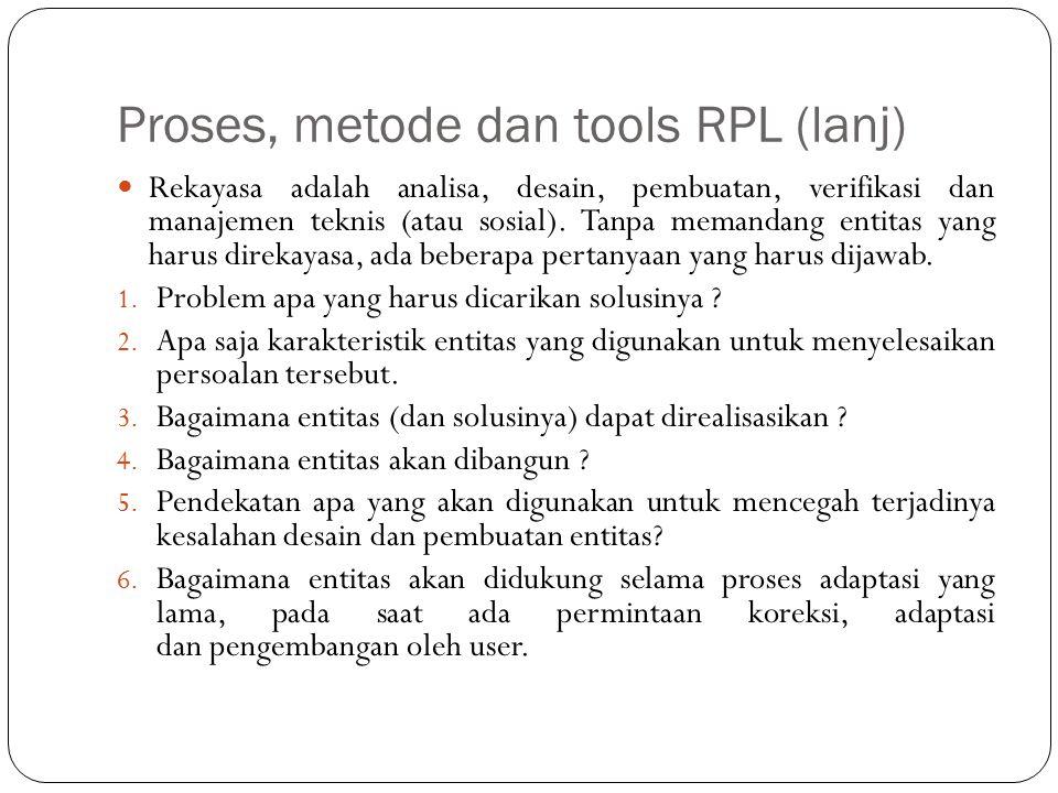 Proses, metode dan tools RPL (lanj)