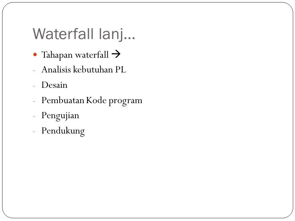 Waterfall lanj… Tahapan waterfall  Analisis kebutuhan PL Desain
