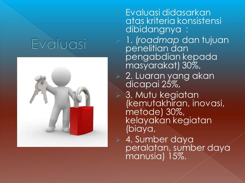 Evaluasi Evaluasi didasarkan atas kriteria konsistensi dibidangnya :