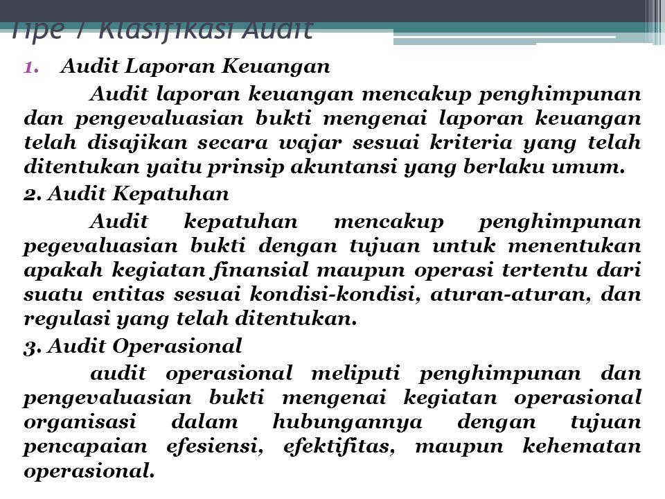 Tipe / Klasifikasi Audit