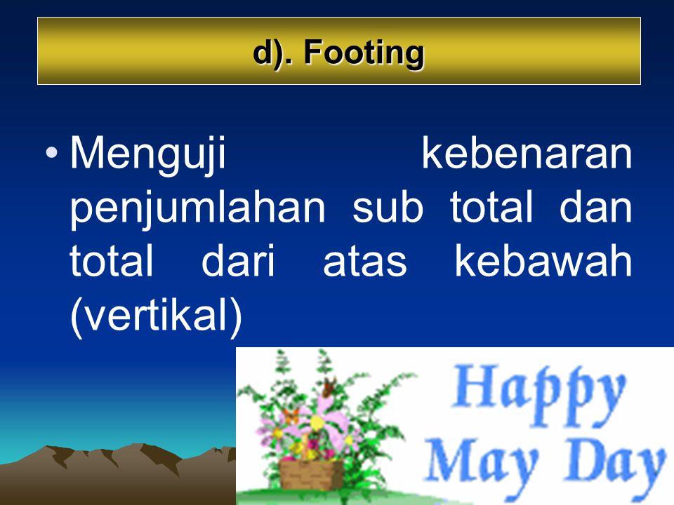 d). Footing Menguji kebenaran penjumlahan sub total dan total dari atas kebawah (vertikal)