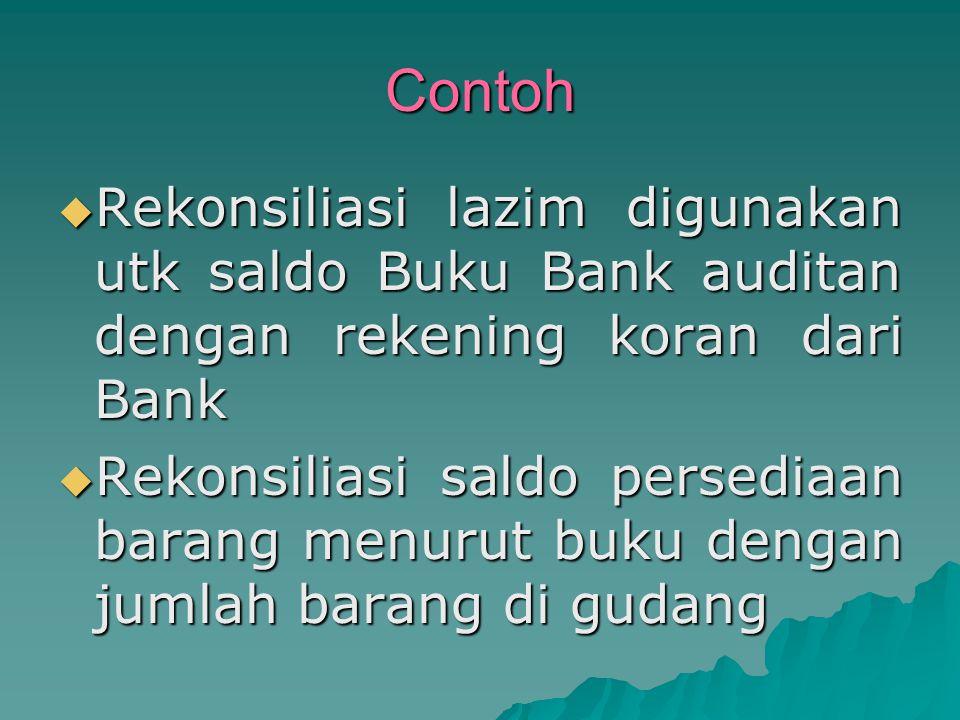 Contoh Rekonsiliasi lazim digunakan utk saldo Buku Bank auditan dengan rekening koran dari Bank.