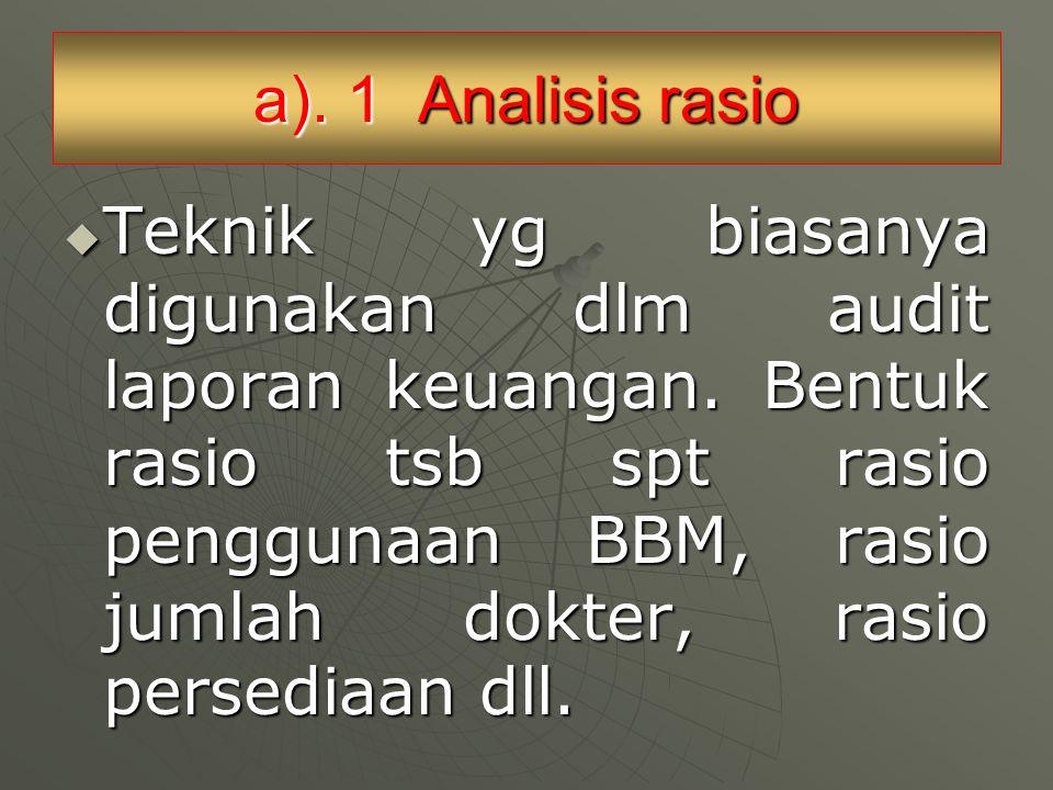 a). 1 Analisis rasio