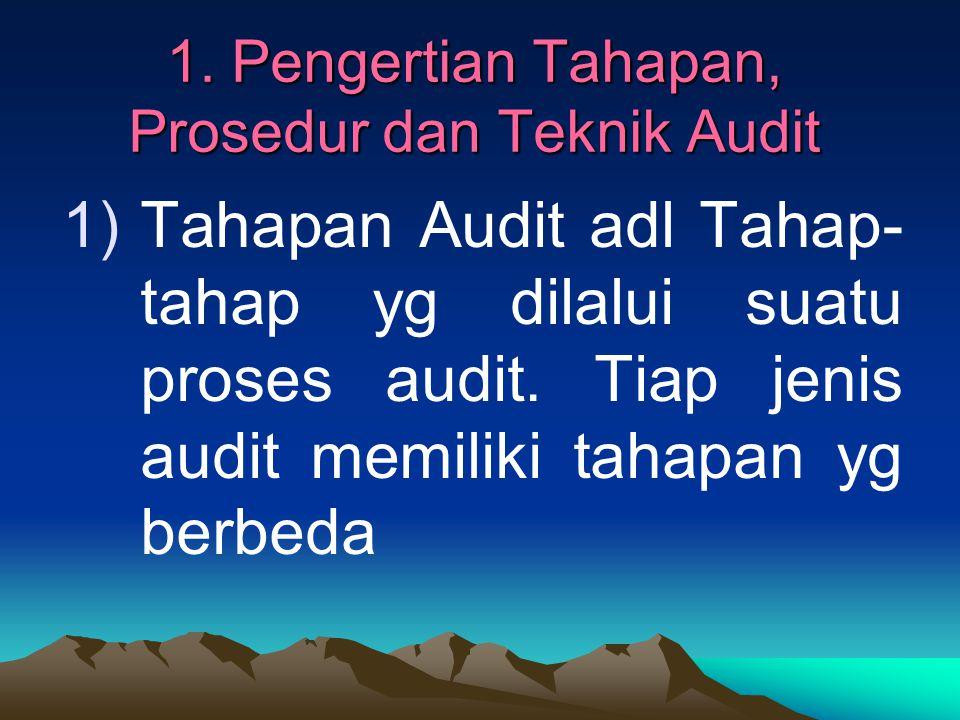 1. Pengertian Tahapan, Prosedur dan Teknik Audit