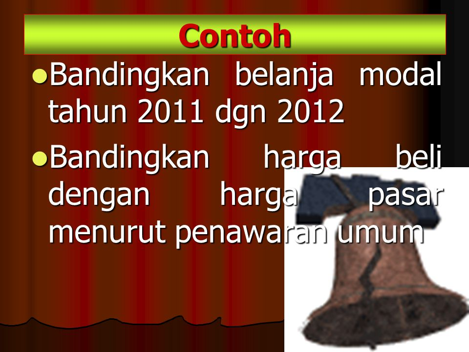 Contoh Bandingkan belanja modal tahun 2011 dgn 2012.