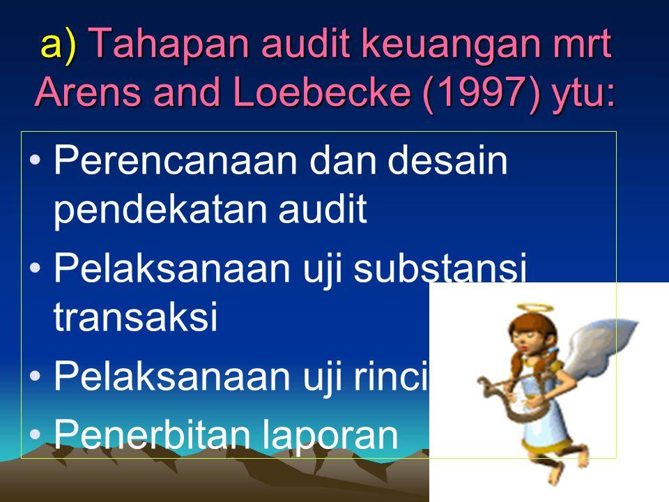 a) Tahapan audit keuangan mrt Arens and Loebecke (1997) ytu: