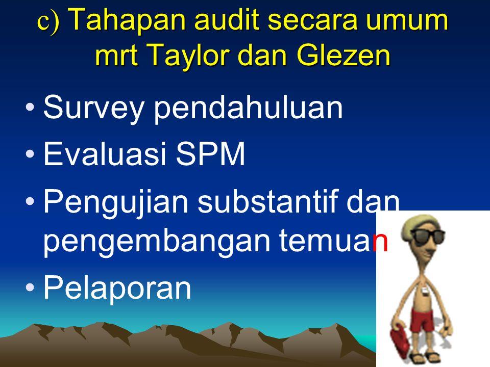 c) Tahapan audit secara umum mrt Taylor dan Glezen