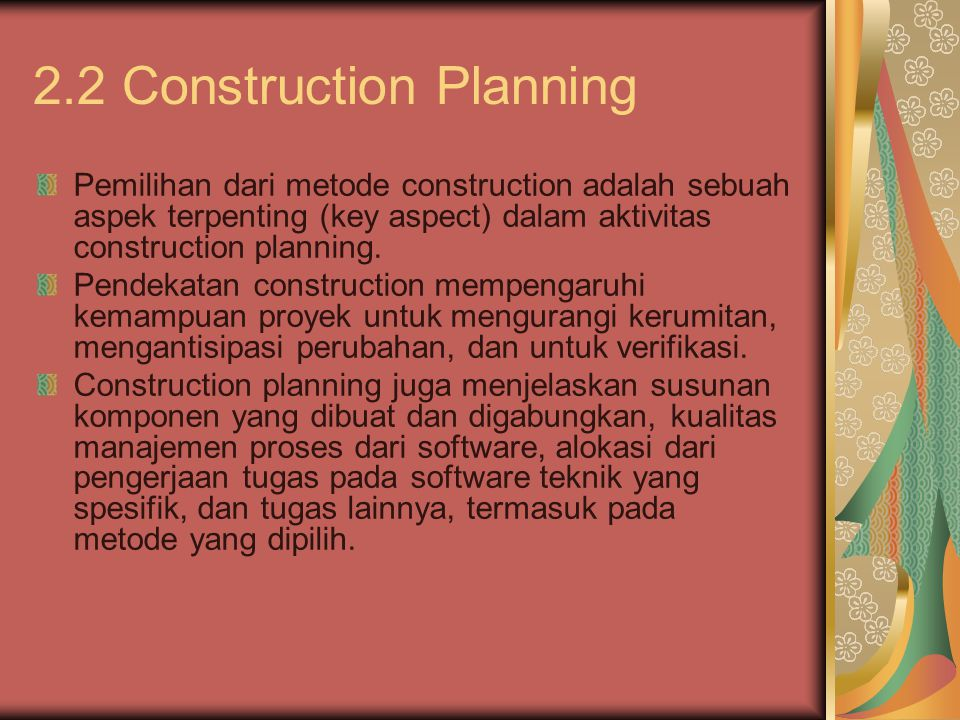 2.2 Construction Planning