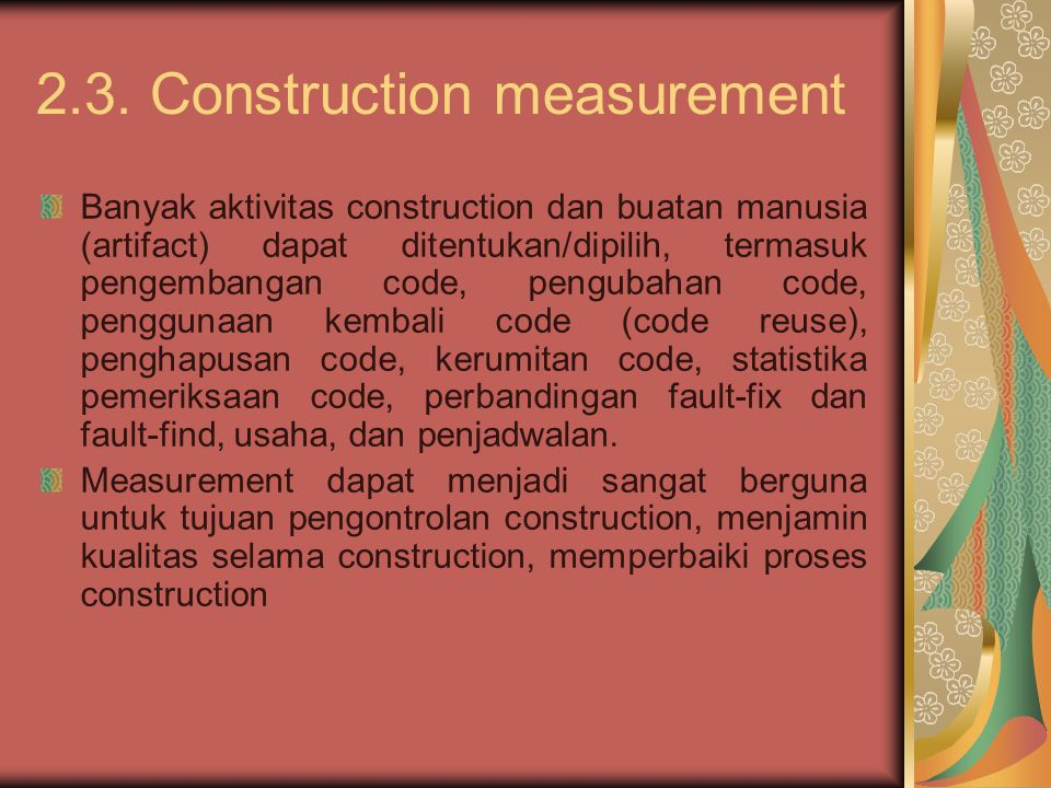 2.3. Construction measurement