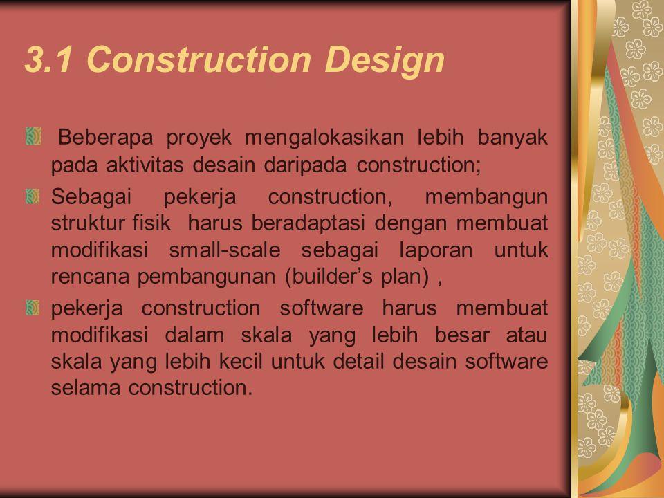 3.1 Construction Design Beberapa proyek mengalokasikan lebih banyak pada aktivitas desain daripada construction;