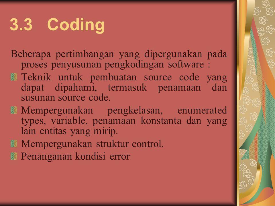 3.3 Coding Beberapa pertimbangan yang dipergunakan pada proses penyusunan pengkodingan software :