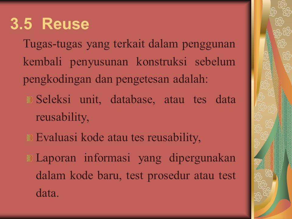 3.5 Reuse Tugas-tugas yang terkait dalam penggunan kembali penyusunan konstruksi sebelum pengkodingan dan pengetesan adalah: