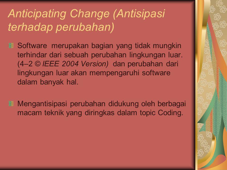 Anticipating Change (Antisipasi terhadap perubahan)