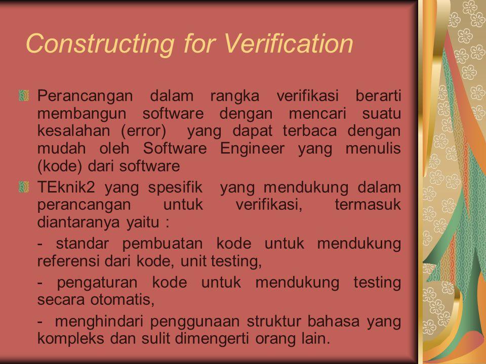 Constructing for Verification