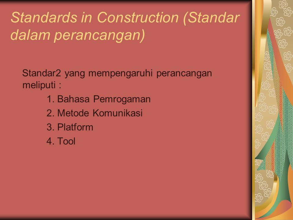 Standards in Construction (Standar dalam perancangan)