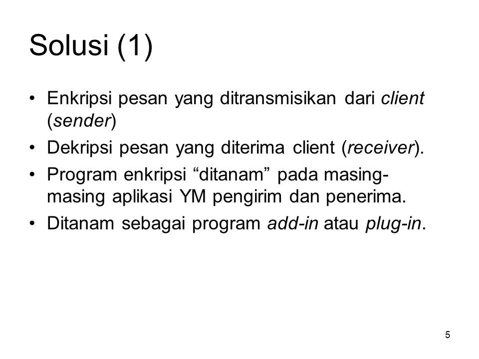 Solusi (1) Enkripsi pesan yang ditransmisikan dari client (sender)