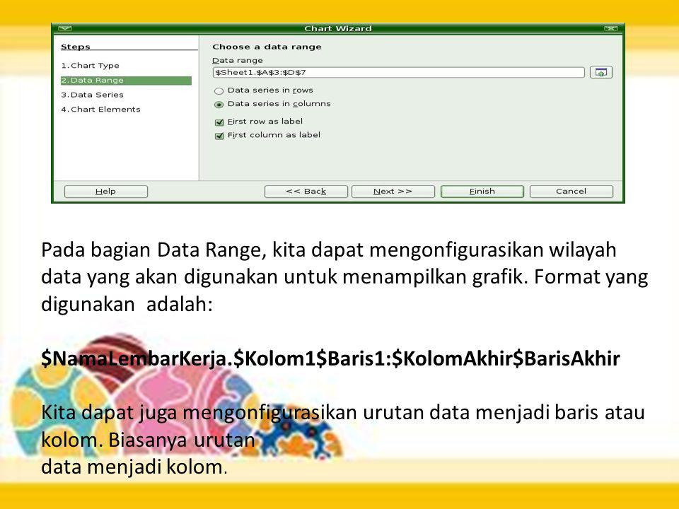 Pada bagian Data Range, kita dapat mengonfigurasikan wilayah data yang akan digunakan untuk menampilkan grafik. Format yang digunakan adalah: