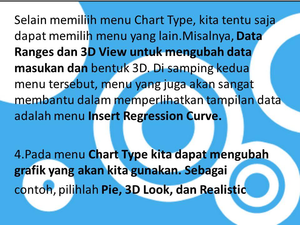 Selain memiliih menu Chart Type, kita tentu saja dapat memilih menu yang lain.Misalnya, Data Ranges dan 3D View untuk mengubah data masukan dan bentuk 3D.