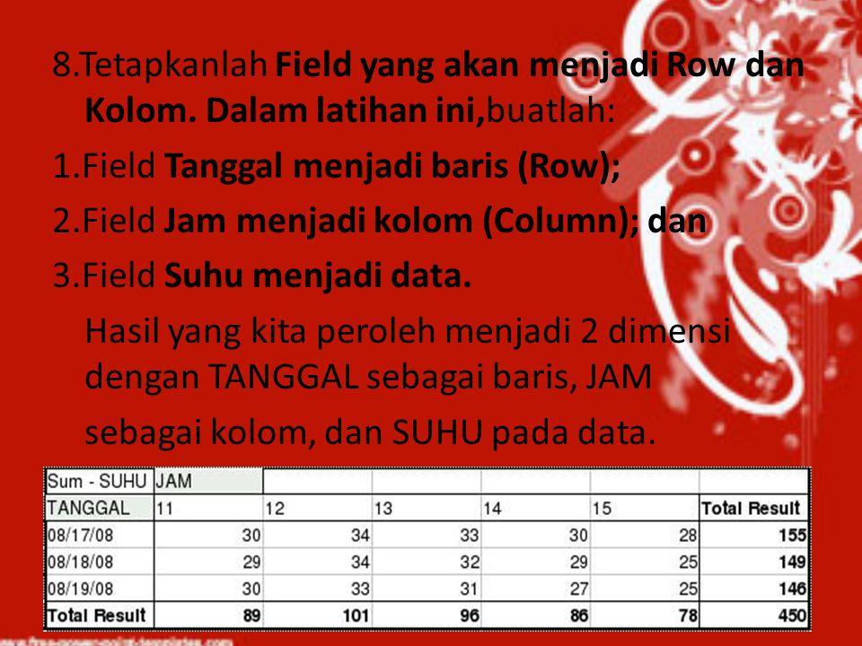 8. Tetapkanlah Field yang akan menjadi Row dan Kolom