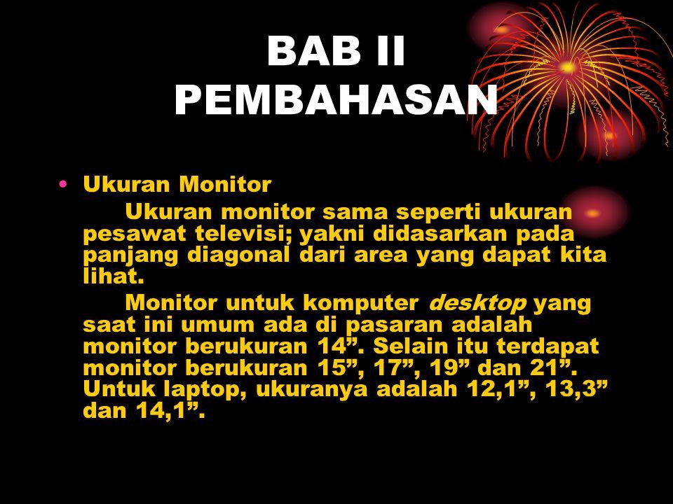 BAB II PEMBAHASAN Ukuran Monitor