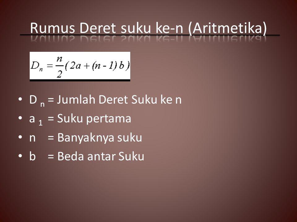 Rumus Deret suku ke-n (Aritmetika)