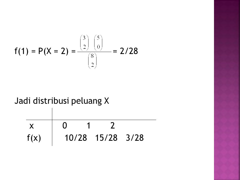 f(1) = P(X = 2) = = 2/28 Jadi distribusi peluang X x 0 1 2 f(x) 10/28 15/28 3/28