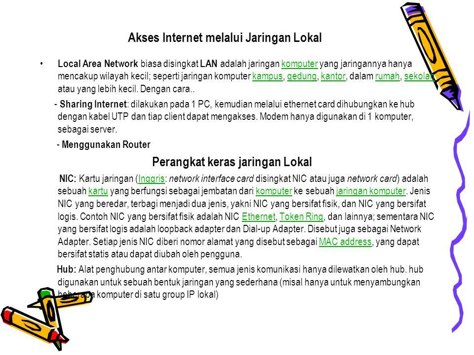 Akses Internet melalui Jaringan Lokal