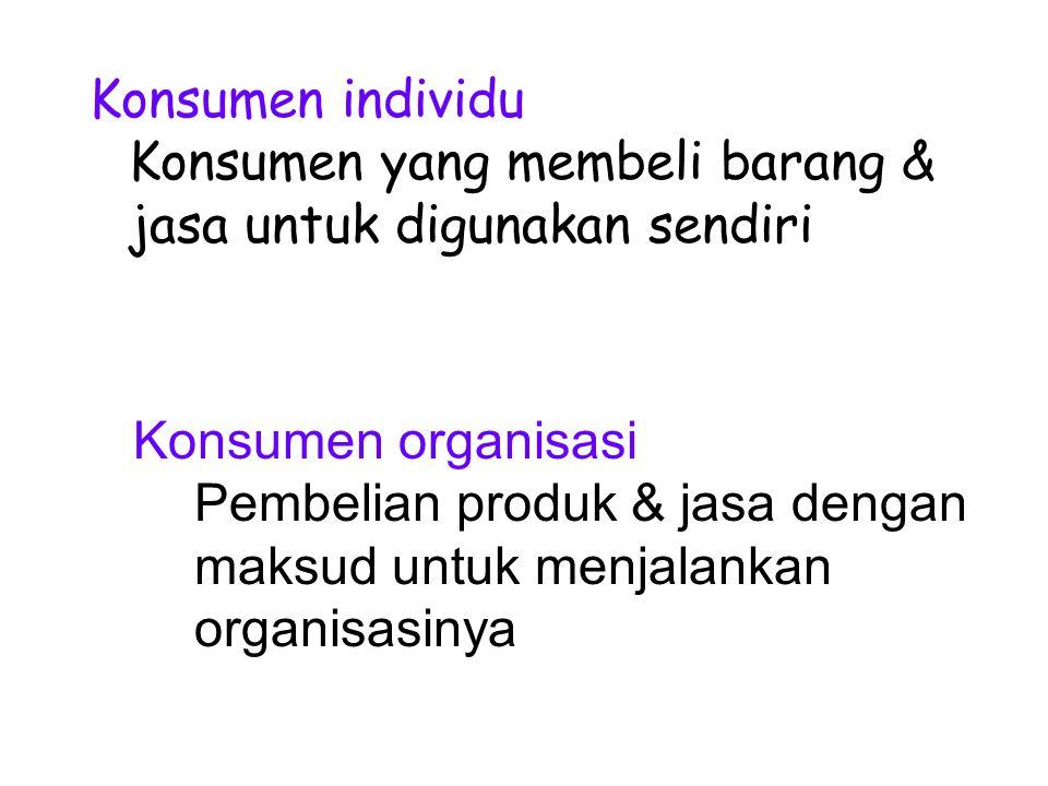 Konsumen individu Konsumen yang membeli barang & jasa untuk digunakan sendiri. Konsumen organisasi.