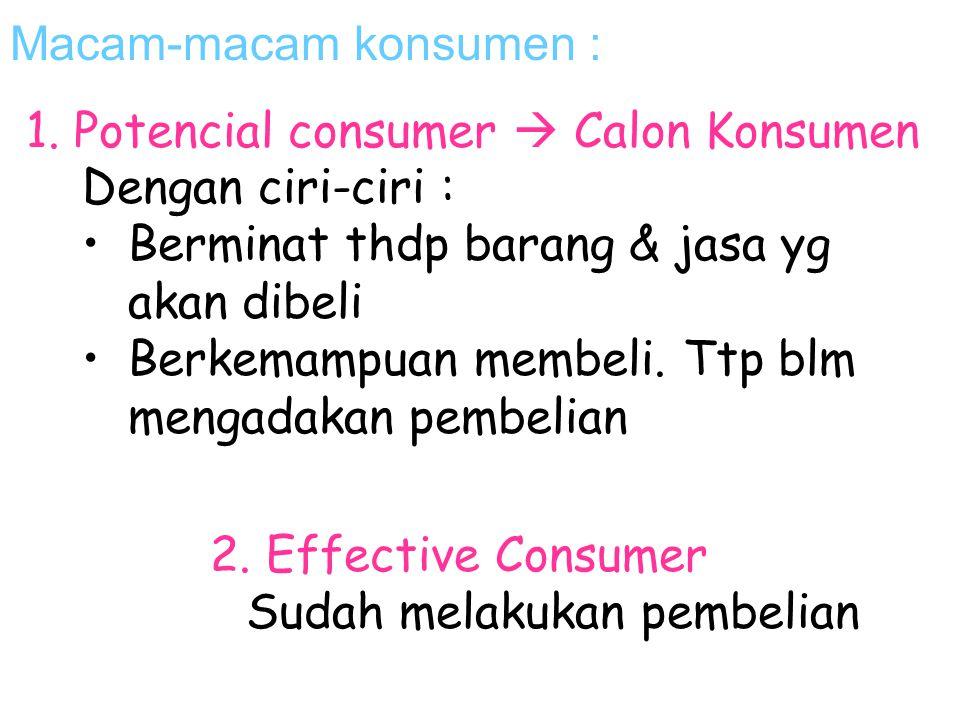 Macam-macam konsumen :
