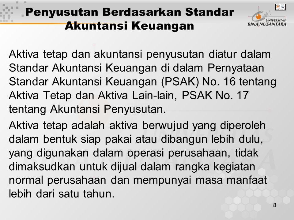 Penyusutan Berdasarkan Standar Akuntansi Keuangan
