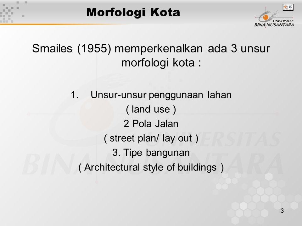 Smailes (1955) memperkenalkan ada 3 unsur morfologi kota :