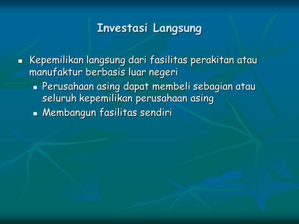 Investasi Langsung Kepemilikan langsung dari fasilitas perakitan atau manufaktur berbasis luar negeri.
