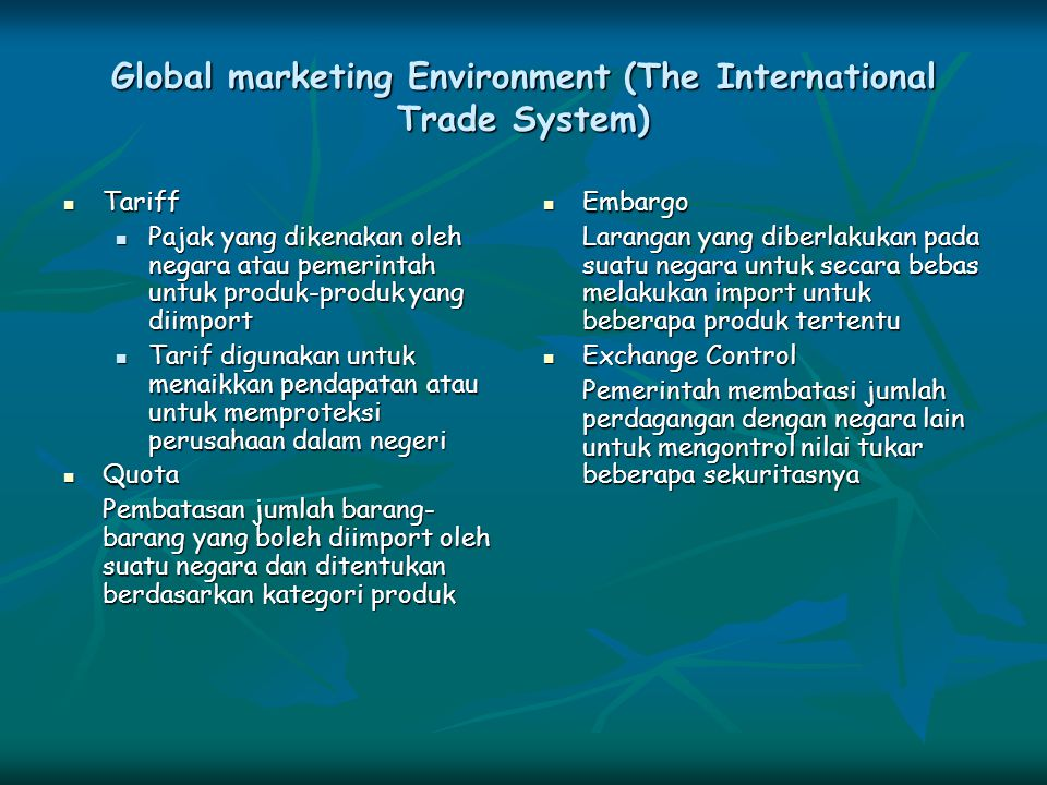 Global marketing Environment (The International Trade System)