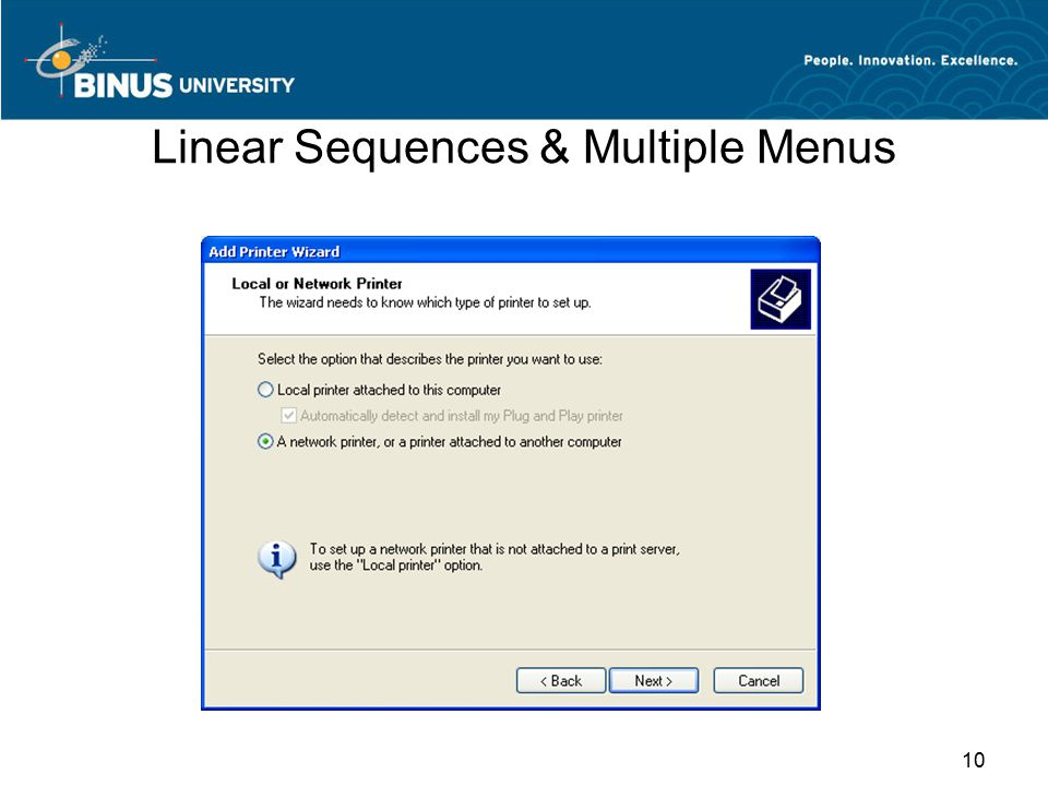 Linear Sequences & Multiple Menus