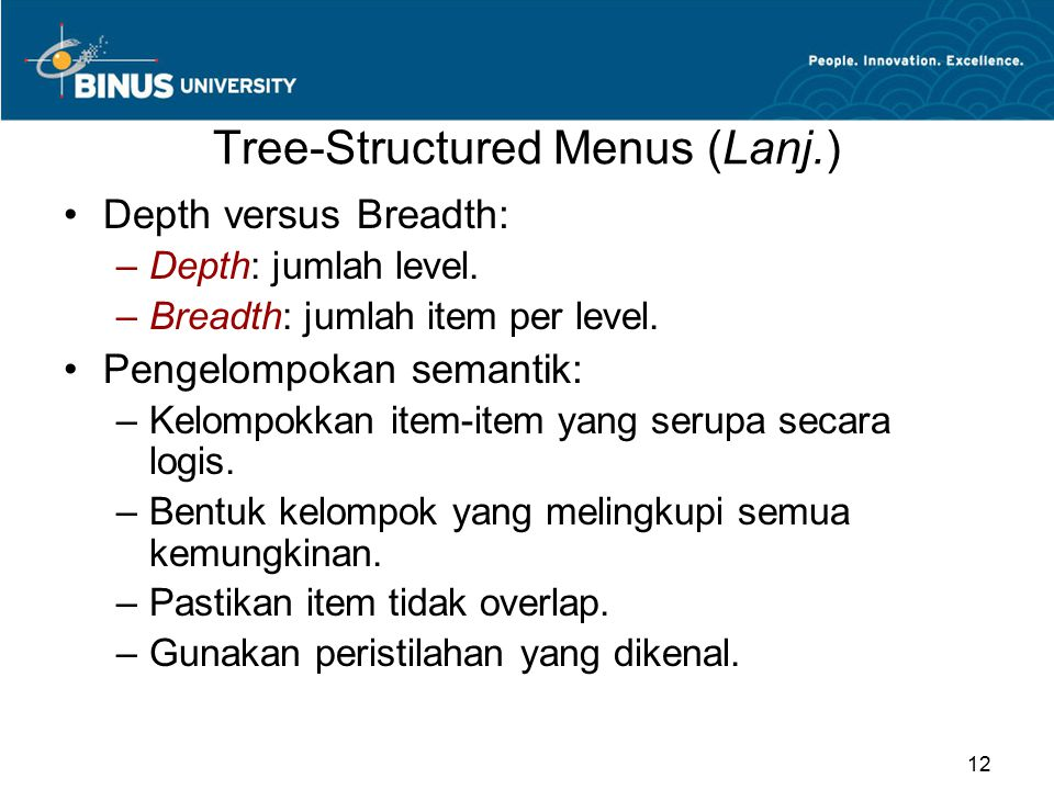 Tree-Structured Menus (Lanj.)