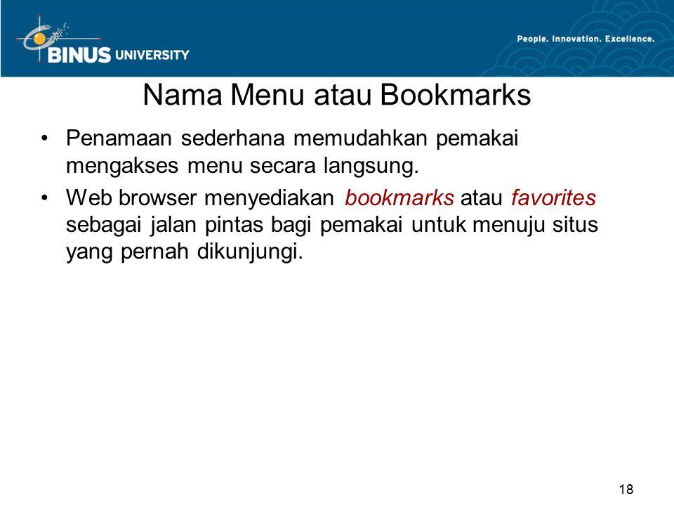 Nama Menu atau Bookmarks