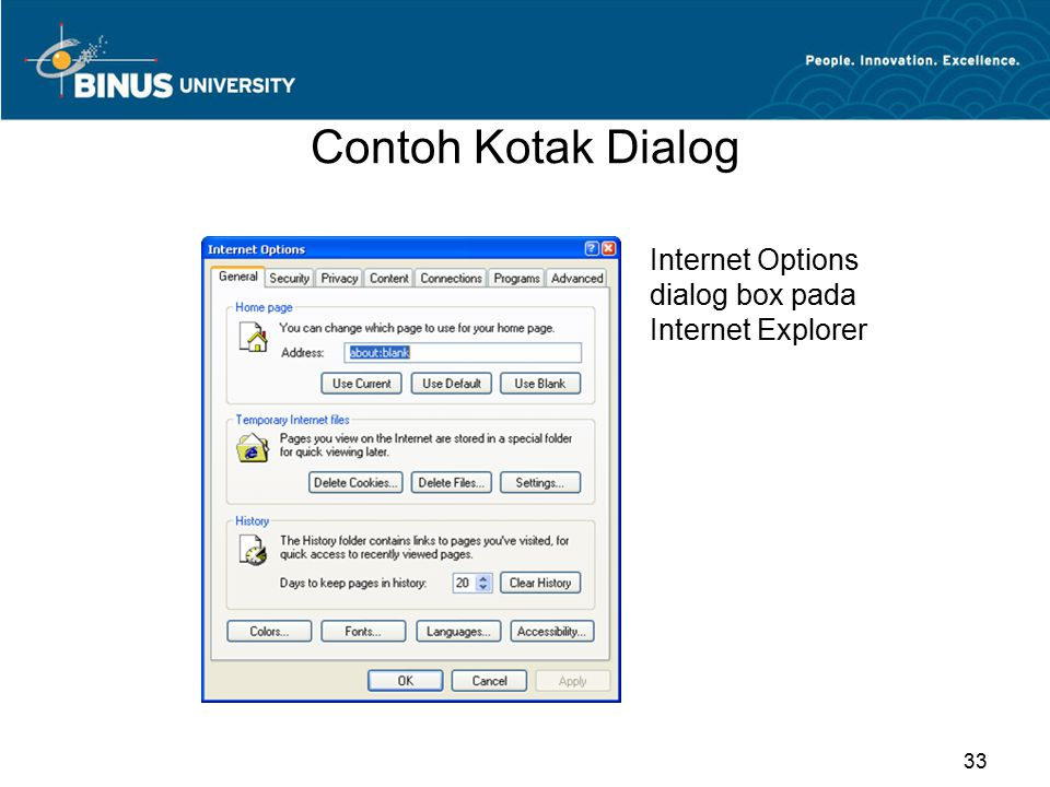 Contoh Kotak Dialog Internet Options dialog box pada Internet Explorer