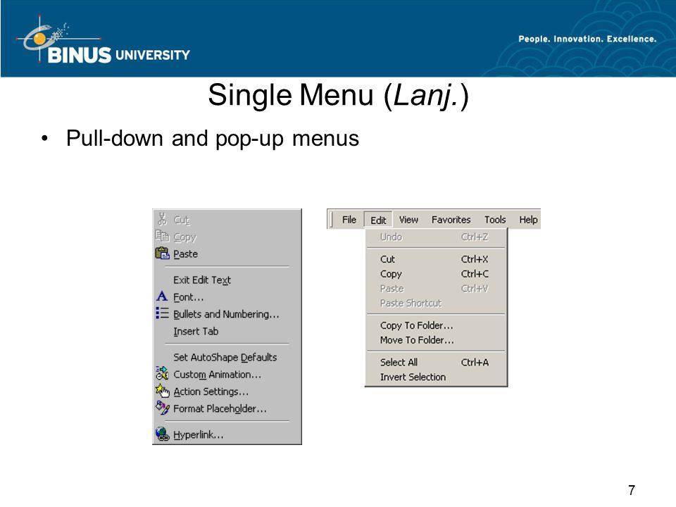Single Menu (Lanj.) Pull-down and pop-up menus