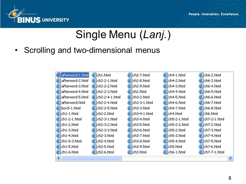 Single Menu (Lanj.) Scrolling and two-dimensional menus
