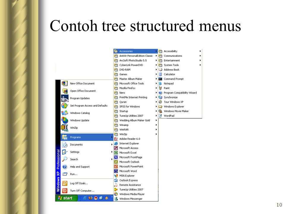 Contoh tree structured menus