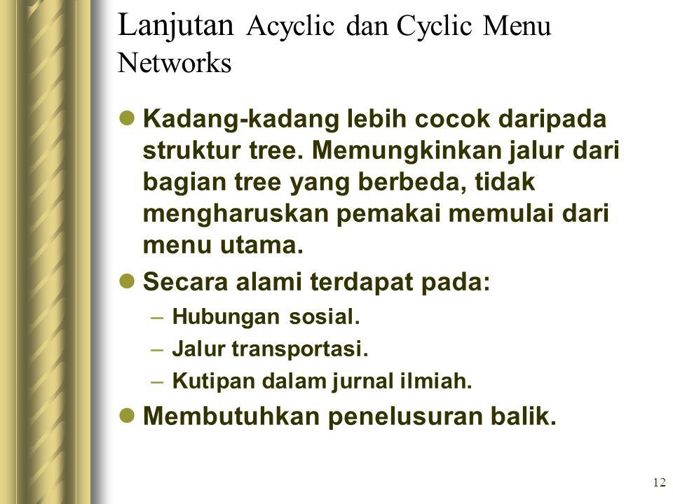 Lanjutan Acyclic dan Cyclic Menu Networks
