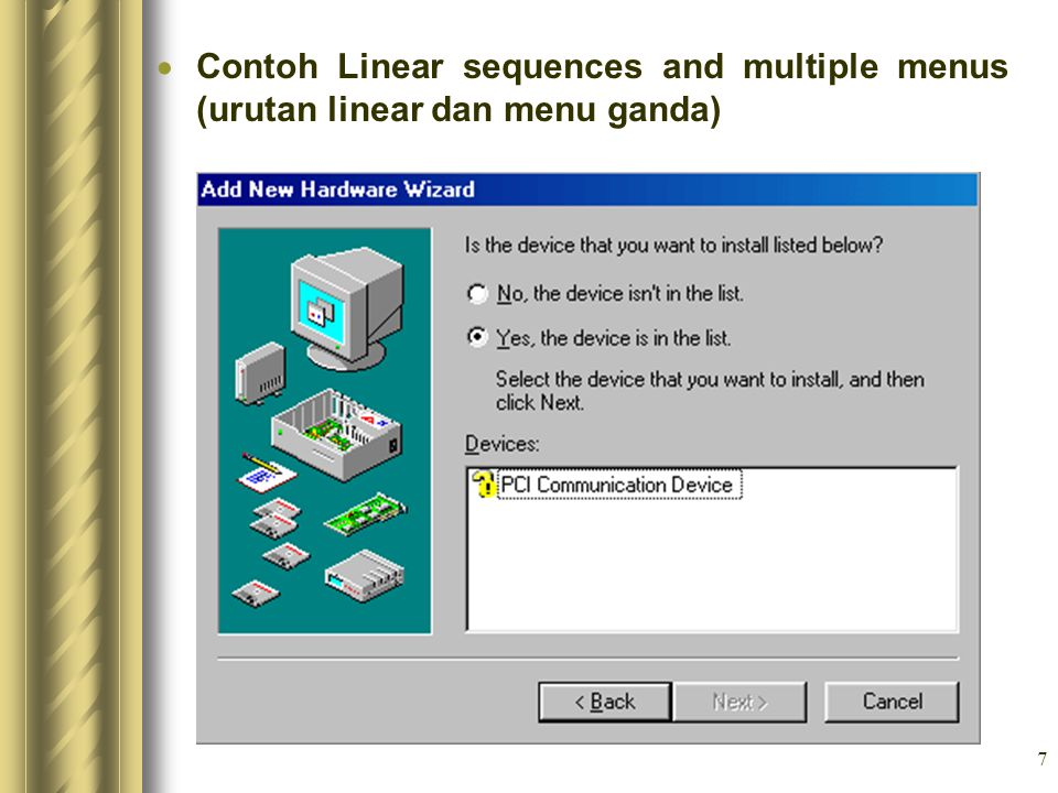 Contoh Linear sequences and multiple menus (urutan linear dan menu ganda)