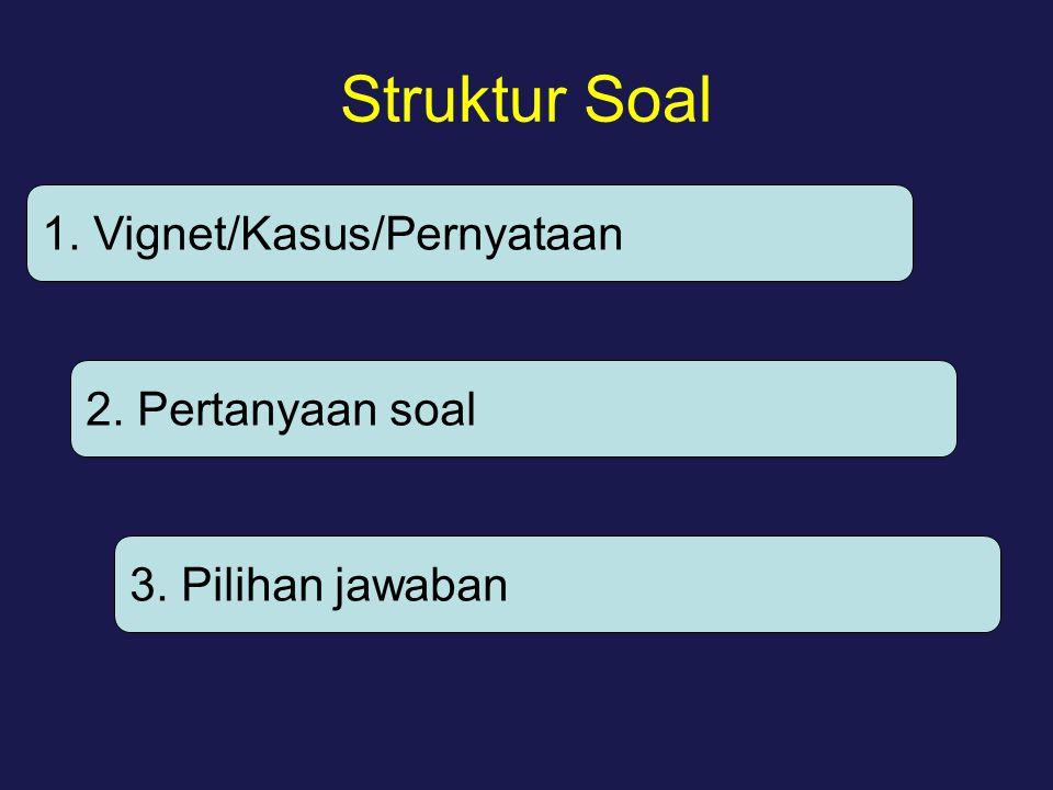 Struktur Soal 1. Vignet/Kasus/Pernyataan 2. Pertanyaan soal