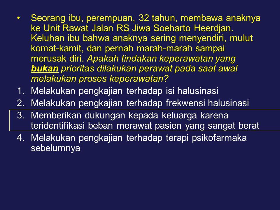 Seorang ibu, perempuan, 32 tahun, membawa anaknya ke Unit Rawat Jalan RS Jiwa Soeharto Heerdjan. Keluhan ibu bahwa anaknya sering menyendiri, mulut komat-kamit, dan pernah marah-marah sampai merusak diri. Apakah tindakan keperawatan yang bukan prioritas dilakukan perawat pada saat awal melakukan proses keperawatan