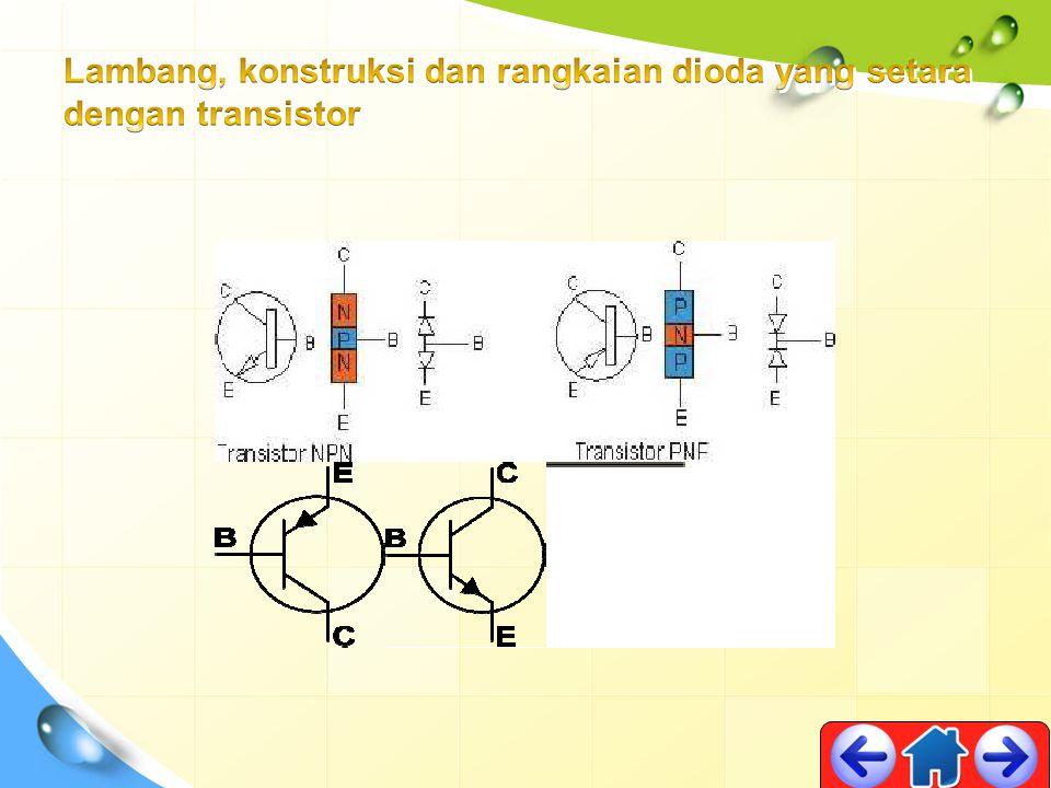Lambang, konstruksi dan rangkaian dioda yang setara dengan transistor
